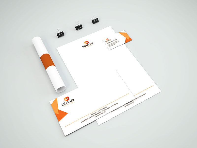 חבילת מיתוג הכוללת עיצוב לוגו, כרטיס וניירת